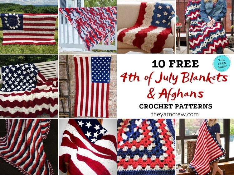 10 Free 4th of July Blankets & Afghans Crochet Patterns FB POSTER