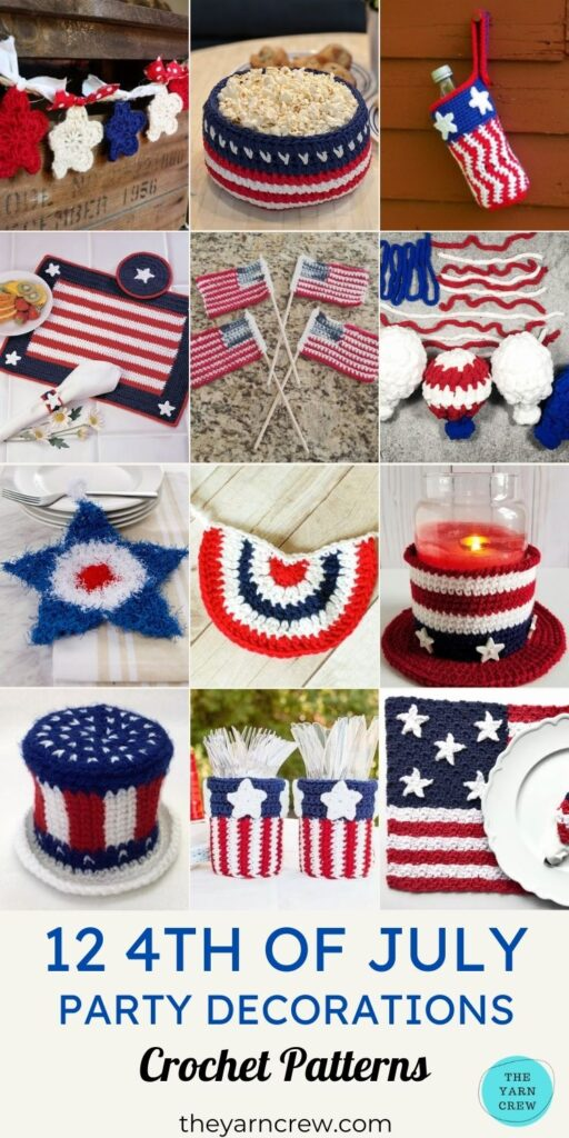 12 4th of July Party Decorations Crochet Patterns PIN 3