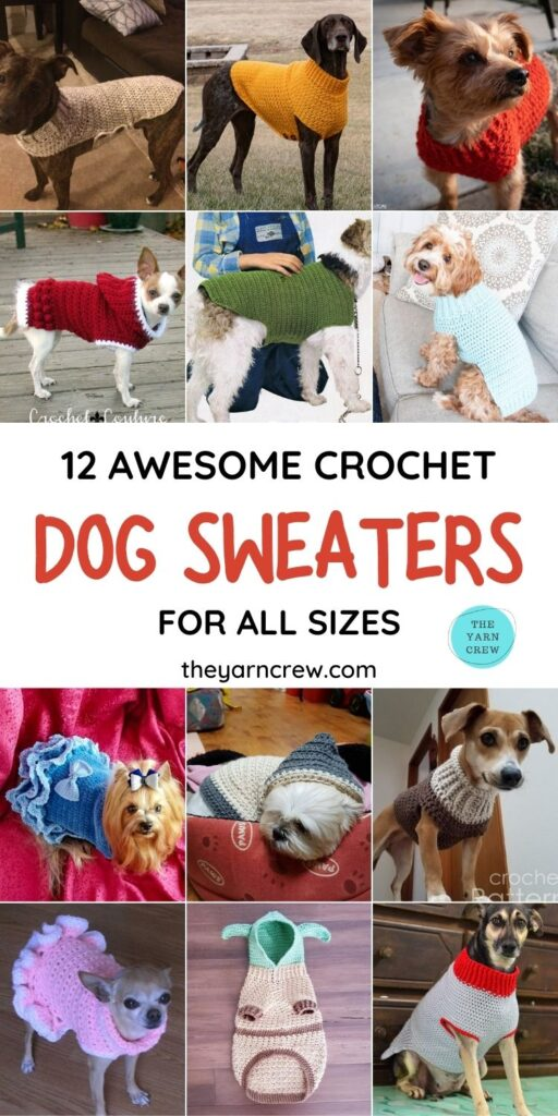 12 Awesome Crochet Dog Sweaters For All Sizes PIN 1