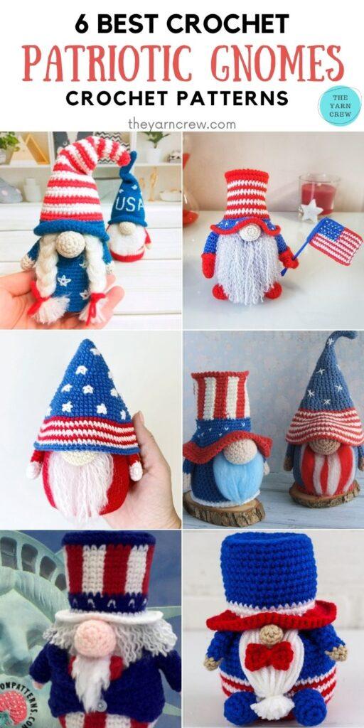 6 Best Crochet Patriotic Gnomes Crochet Patterns PIN 2
