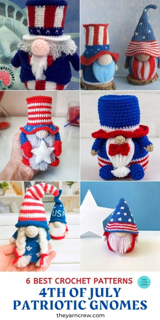 6 Best Crochet Patterns For 4th Of July Patriotic Gnomes PIN 3
