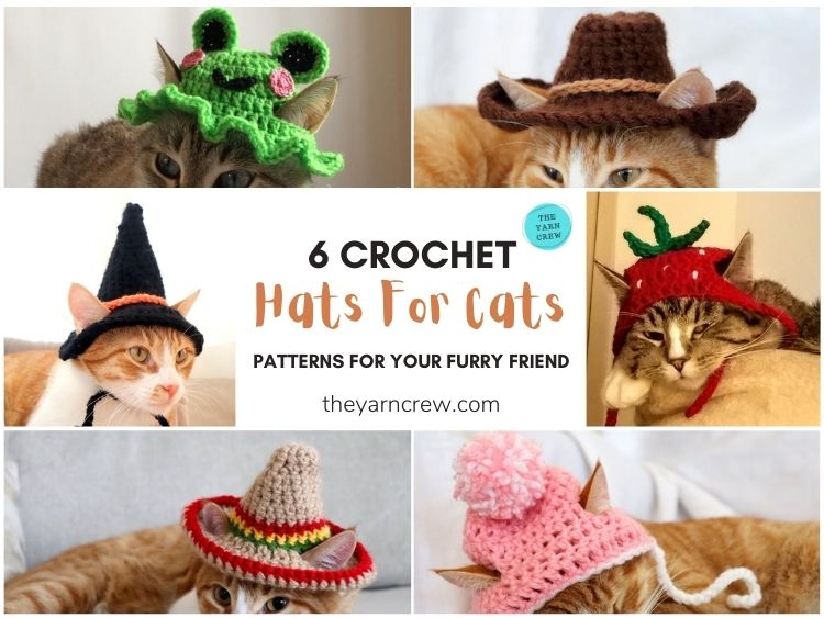 6 Crochet Hats For Cats Patterns For Your Furry Friend FB POSTER