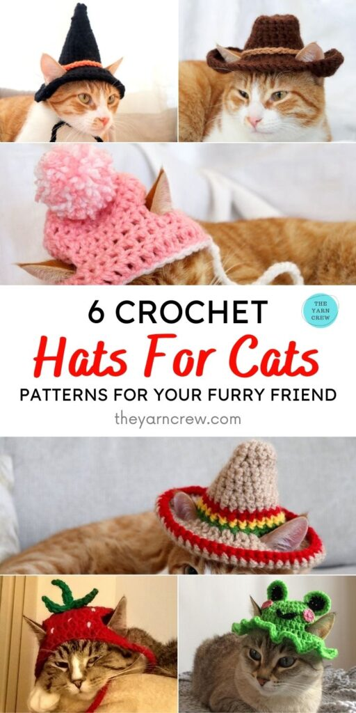 6 Crochet Hats For Cats Patterns For Your Furry Friend PIN 1