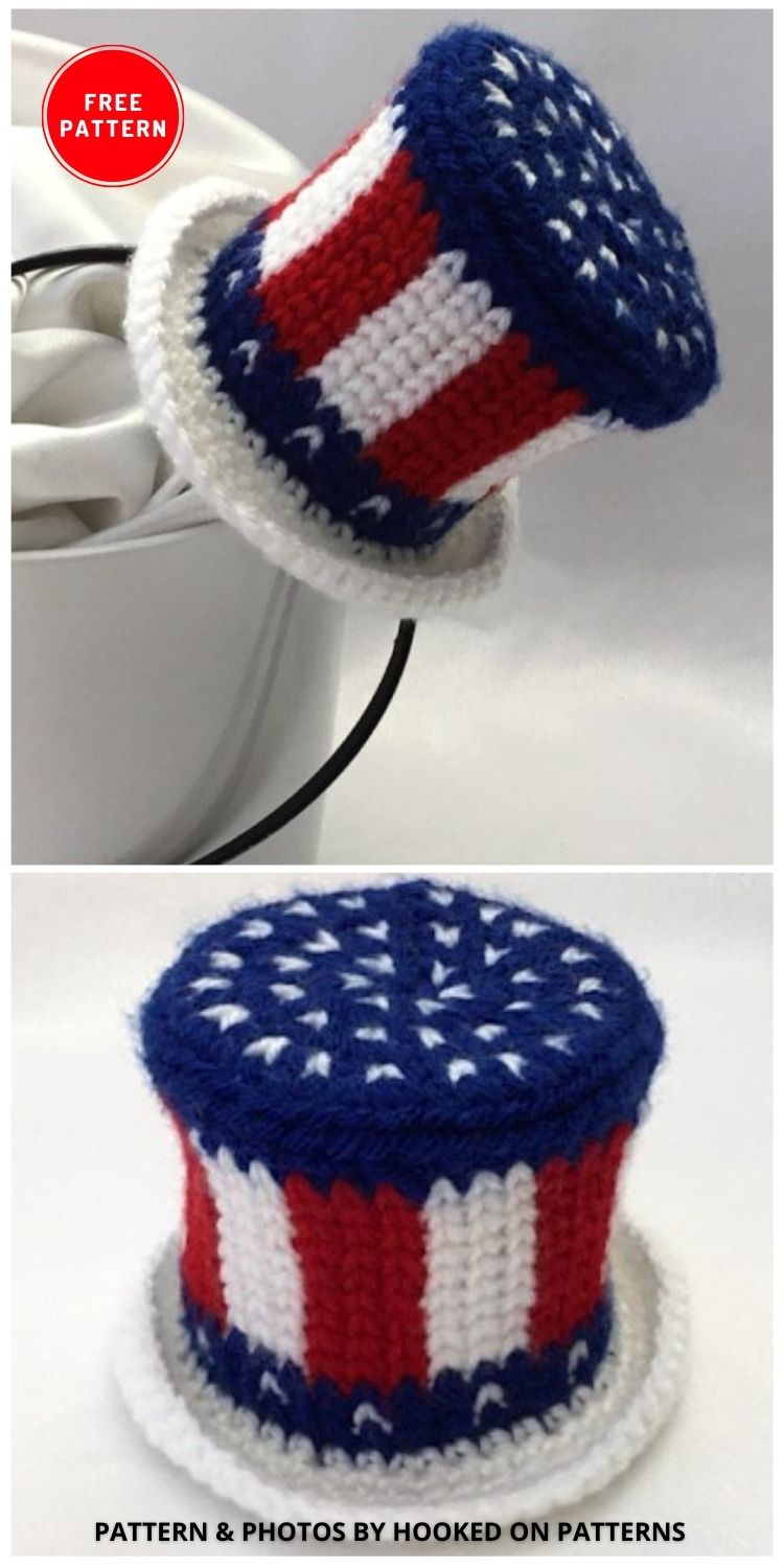 American Flag Mini Hat - 12 Easy Crochet 4th of July Party Decorations Patterns