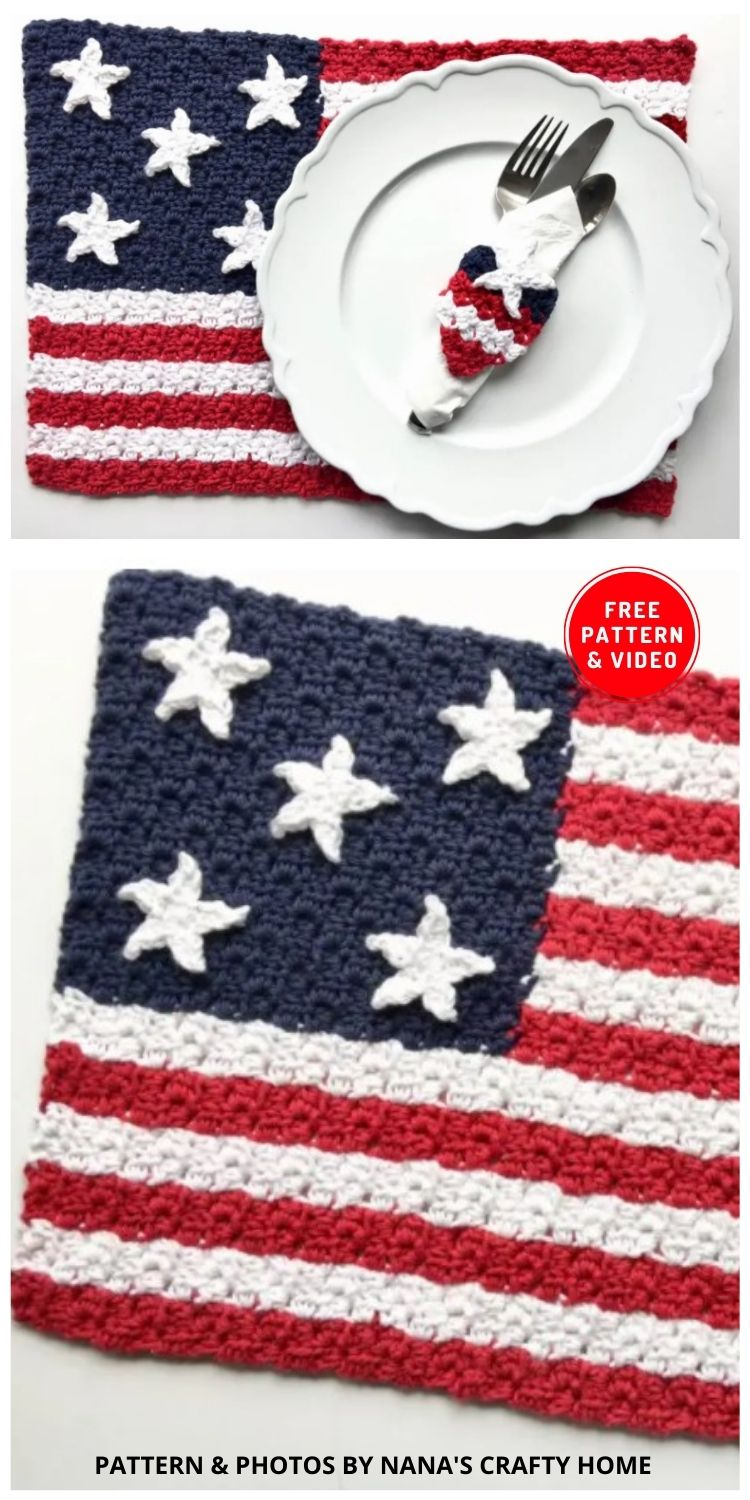 American Flag Placemat & Napkin Ring - 12 Easy Crochet 4th of July Party Decorations Patterns