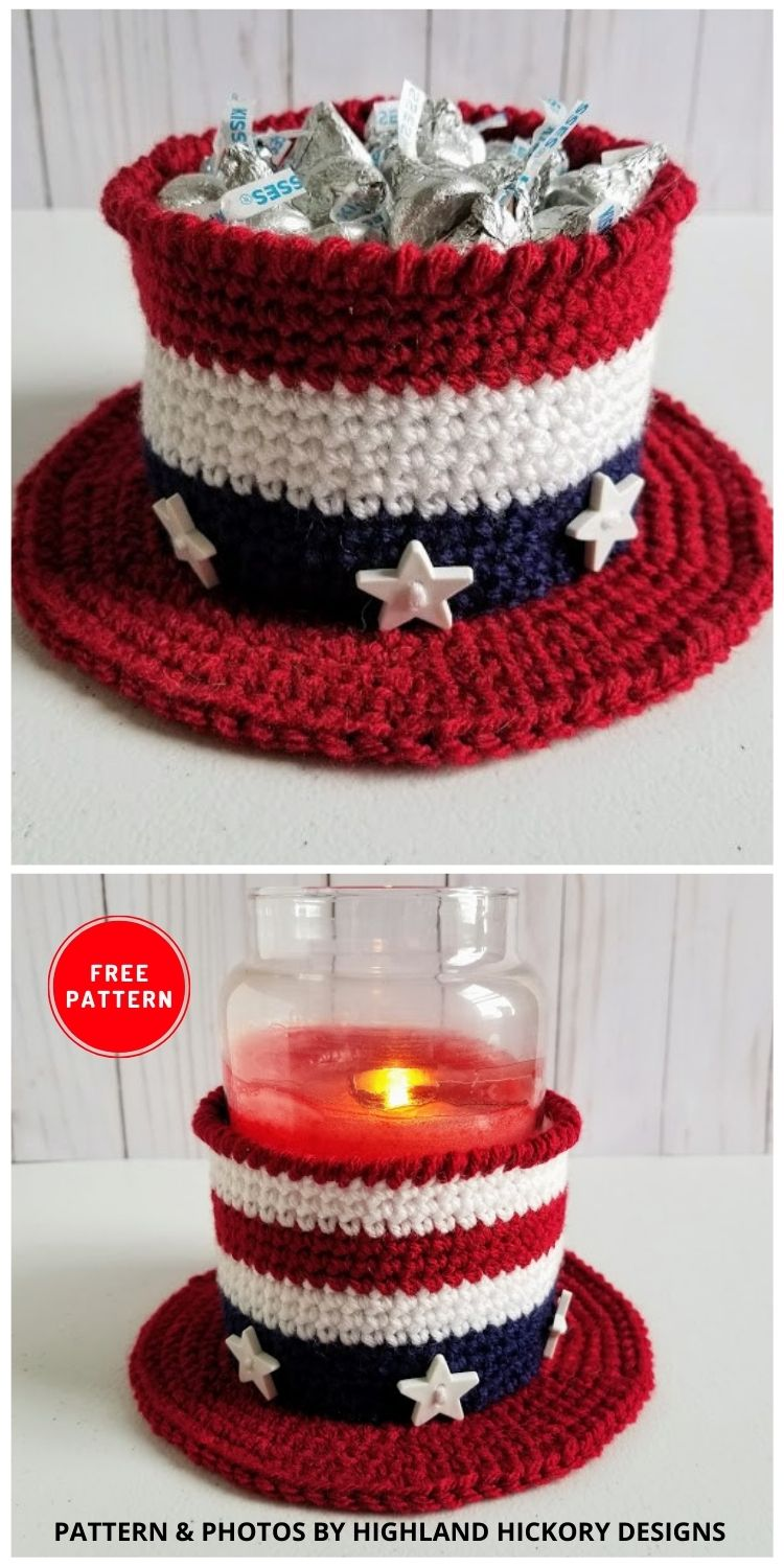 Americana Hat - 12 Easy Crochet 4th of July Party Decorations Patterns