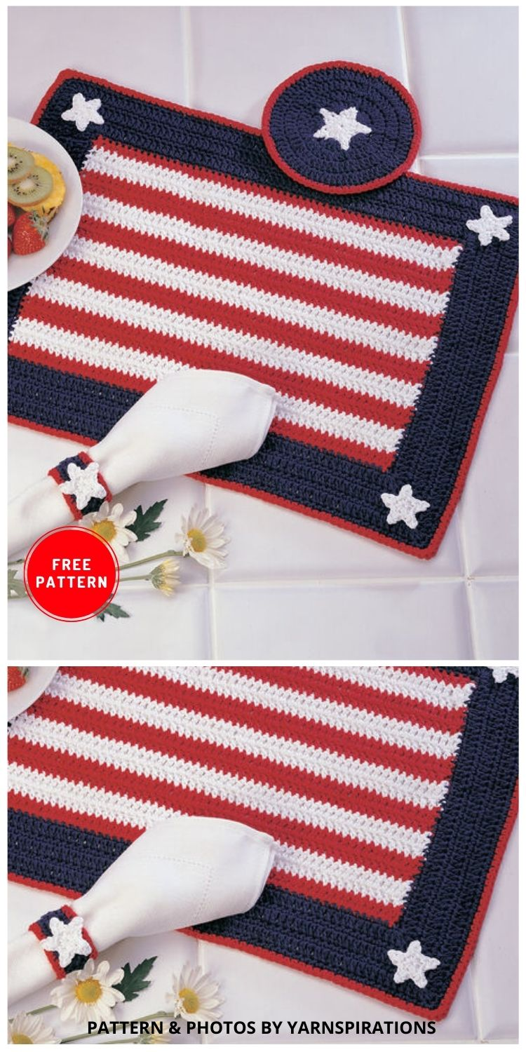 Americana Place Setting - 12 Easy Crochet 4th of July Party Decorations Patterns