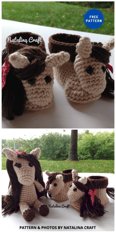 Baby Booties Horse - 9 Free Amigurumi Horses Crochet Toy Patterns