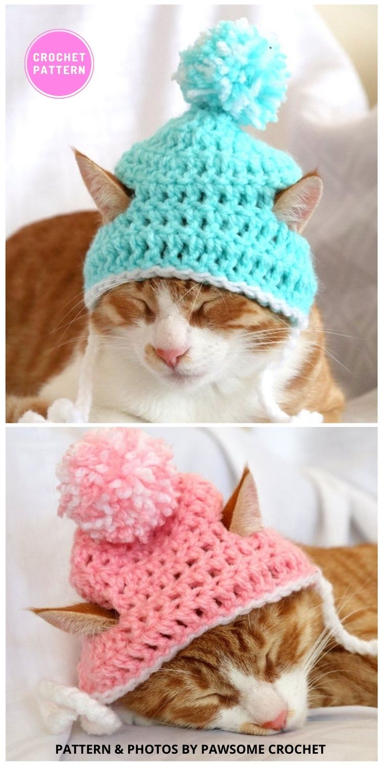 Cat Beanie - 6 Crochet Hats For Cats Patterns For Your Furry Friend