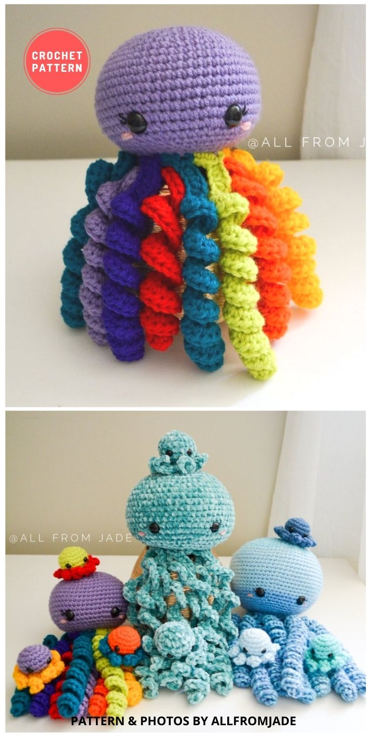 Olivia & Paige the Octopus Moms and Their Babies - 11 Amigurumi Octopus Toys Crochet Patterns For Babies PIN