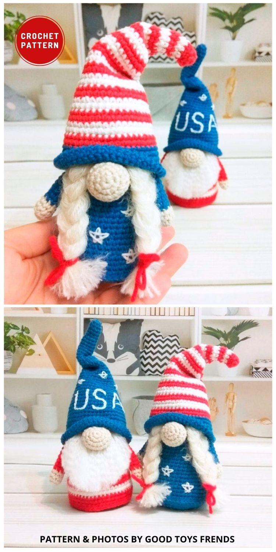 Patriotic Amigurumi Gnome - Top 6 Crochet 4th Of July Patriotic Gnomes Ideas (1)