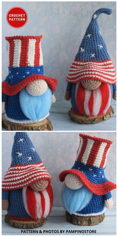 Patriotic Amigurumi Gnome - Top 6 Crochet 4th Of July Patriotic Gnomes Ideas