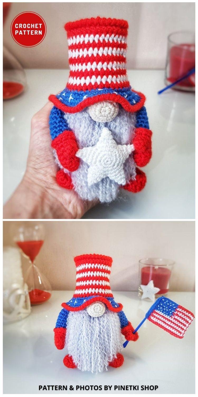 Patriotic Amigurumi Gnome with Flag - Top 6 Crochet 4th Of July Patriotic Gnomes Ideas