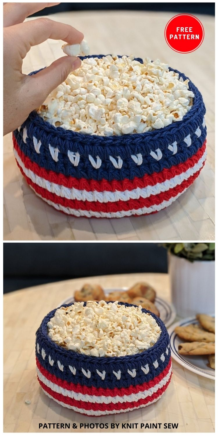 Patriotic Basket - 12 Easy Crochet 4th of July Party Decorations Patterns