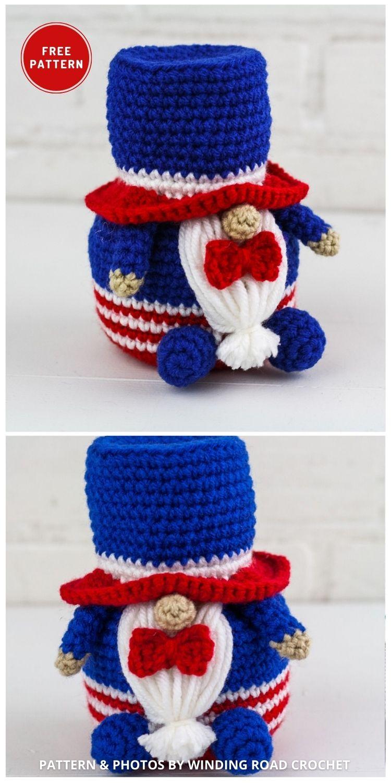 Patriotic Gnome - Top 6 Crochet 4th Of July Patriotic Gnomes Ideas