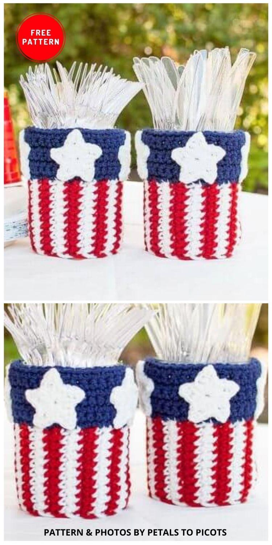 Patriotic Mason Jar Utensil Holder - 12 Easy Crochet 4th of July Party Decorations Patterns