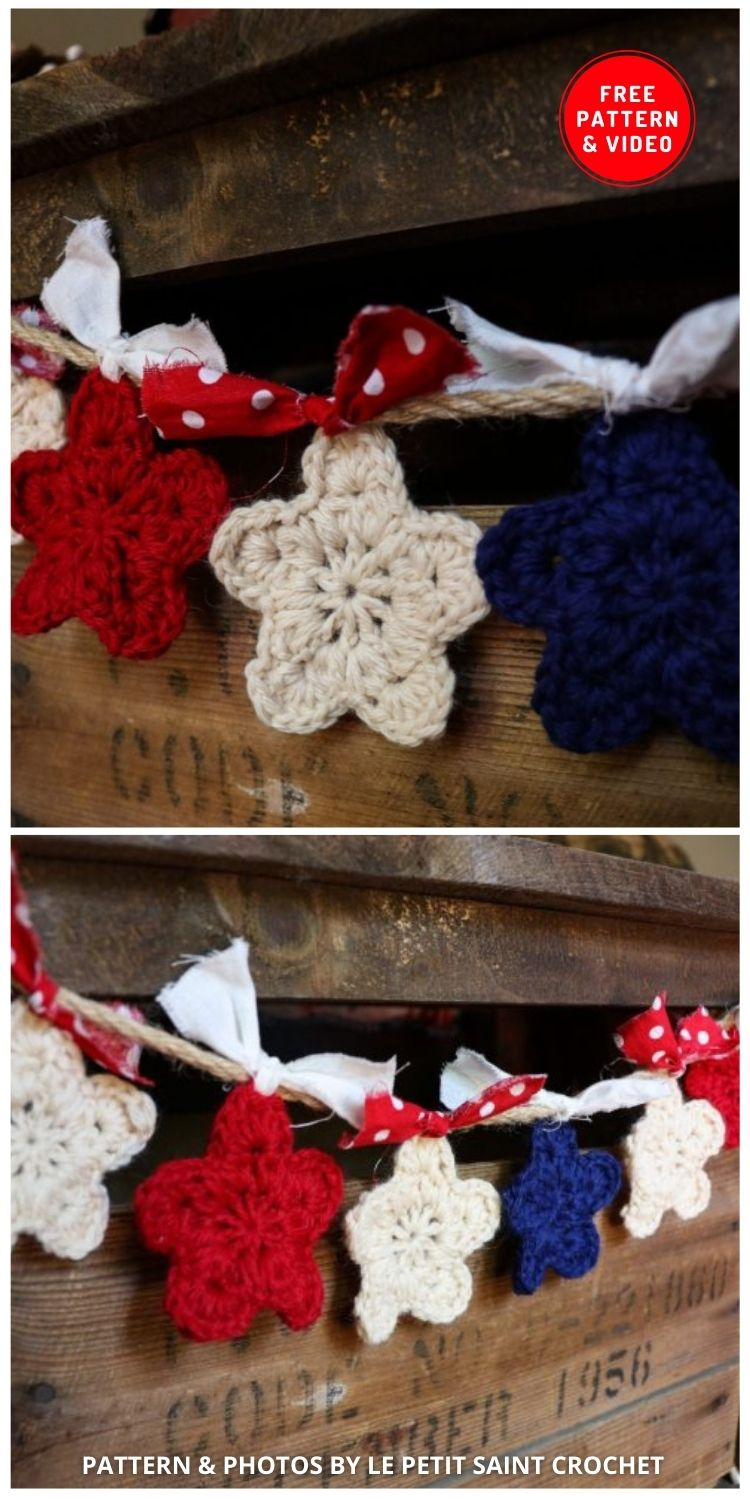 Simple Crochet Star - 12 Easy Crochet 4th of July Party Decorations Patterns