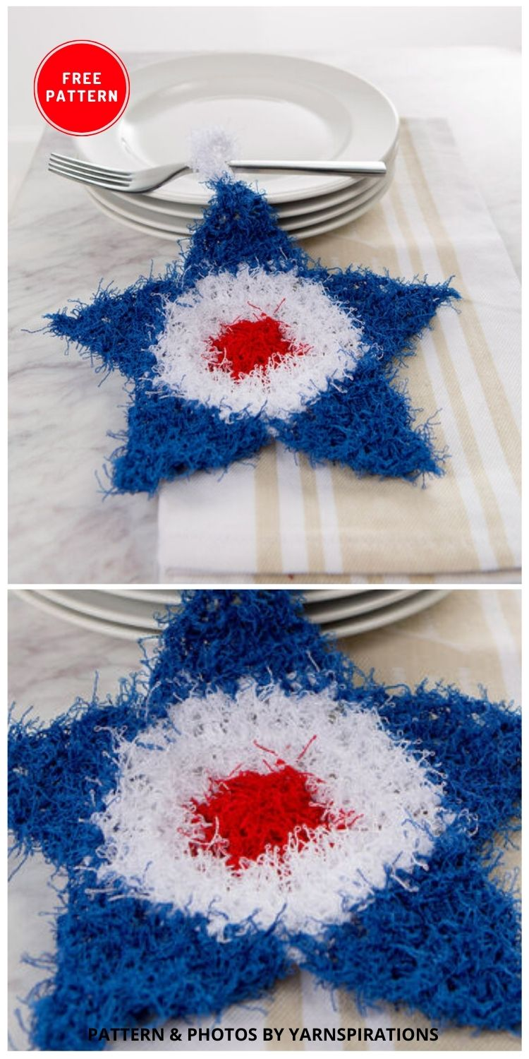 Star-shaped Scrubby - 12 Easy Crochet 4th of July Party Decorations Patterns
