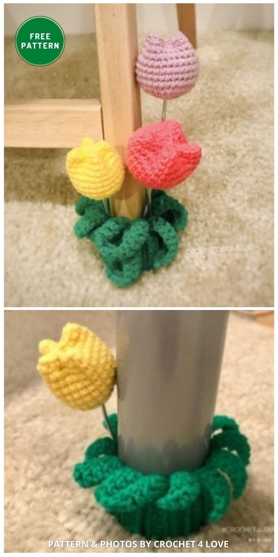 Tulip Table Leg Sock - 7 Free Crochet Chair Socks Pattern Ideas