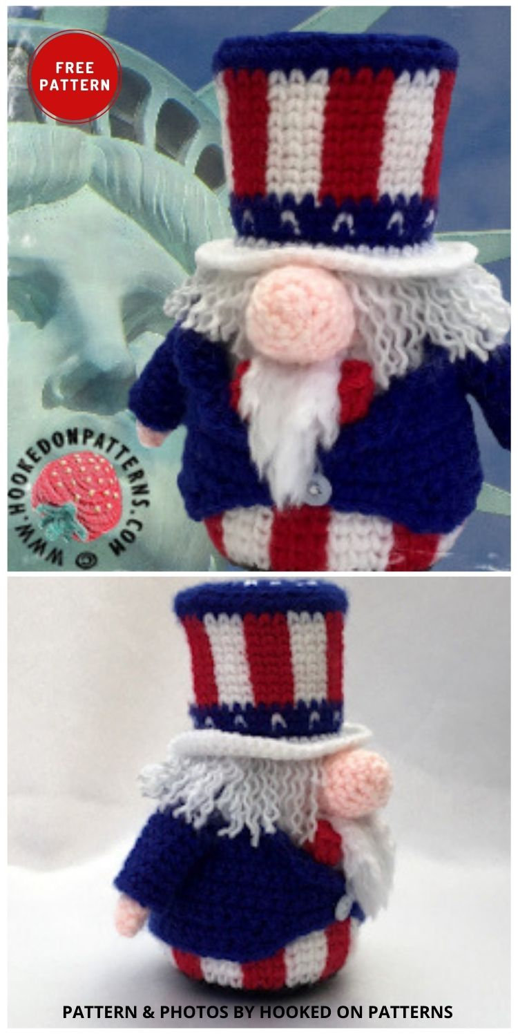 Uncle Sam Gonk Outfit - Top 6 Crochet 4th Of July Patriotic Gnomes Ideas