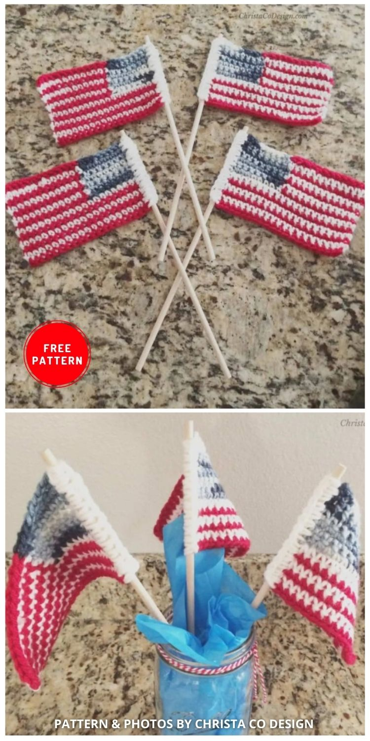 United States Flag - 12 Easy Crochet 4th of July Party Decorations Patterns