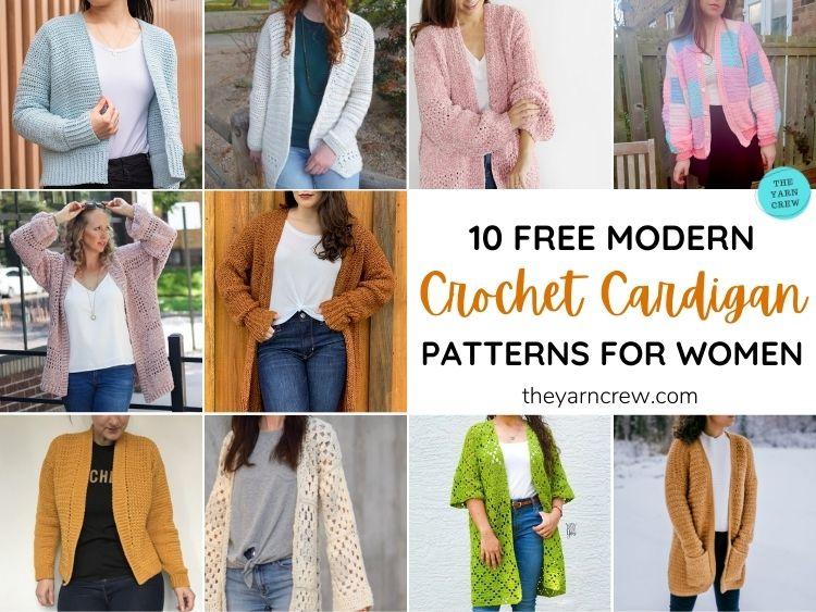10 Free Modern Crochet Cardigan Patterns For Women FB POSTER