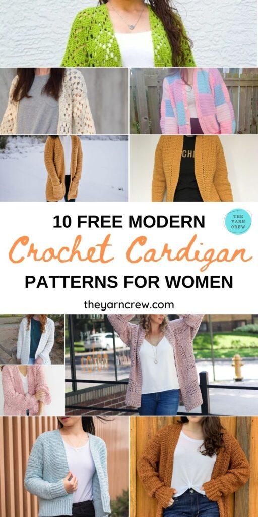 10 Free Modern Crochet Cardigan Patterns For Women PIN 1