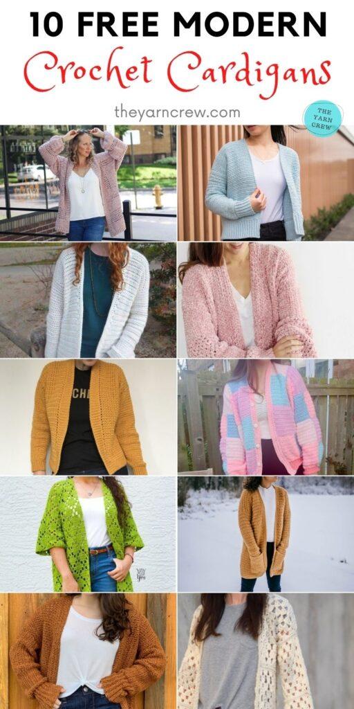 10 Free Modern Crochet Cardigans PIN 2