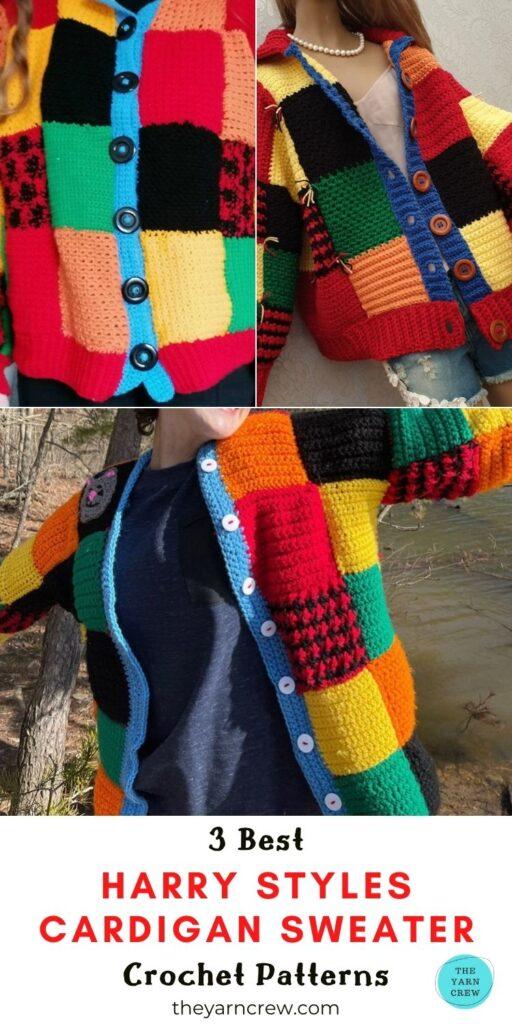 3 Best Harry Styles Cardigan Sweater Crochet Patterns PIN 3