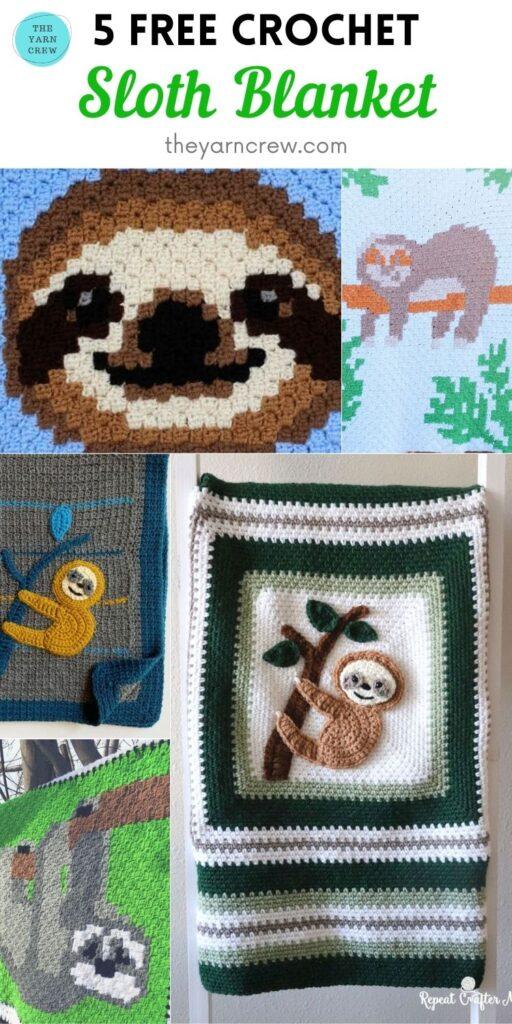 5 Free Crochet Sloth Blanket PIN 2