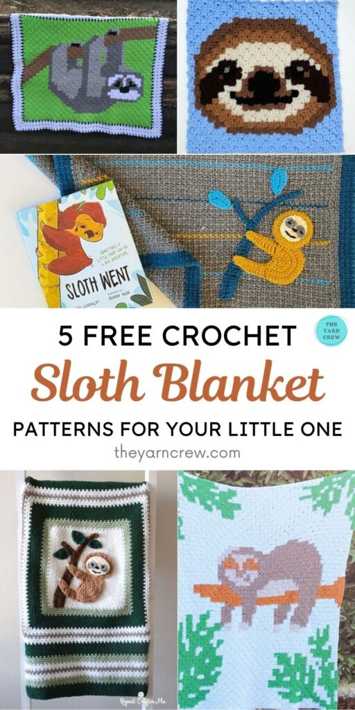 5 Free Crochet Sloth Blanket Patterns For Your Little One PIN 1