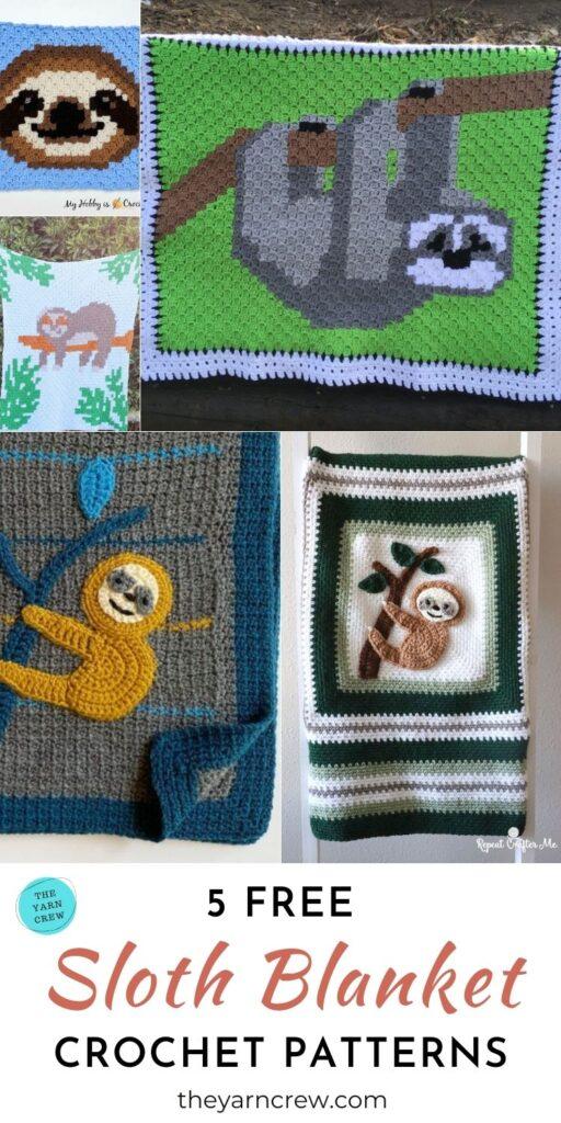 5 Free Sloth Blanket Crochet Patterns PIN 3