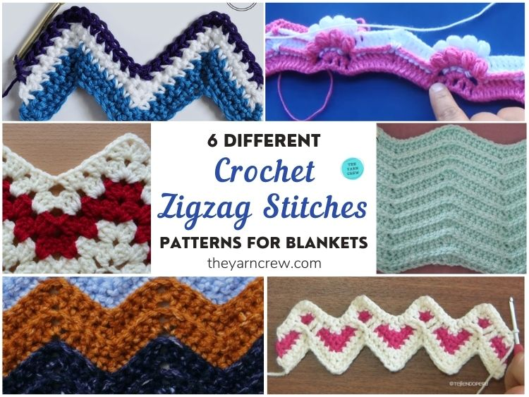 6 Different Crochet Zigzag Stitch Patterns For Blankets FB POSTER