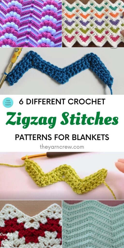 6 Different Crochet Zigzag Stitch Patterns For Blankets PIN 1