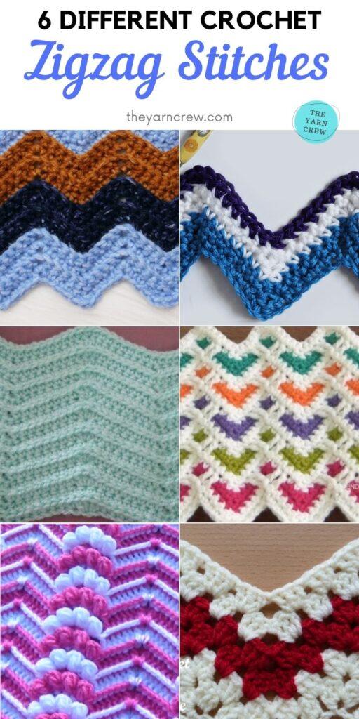 6 Different Crochet Zigzag Stitches PIN 2