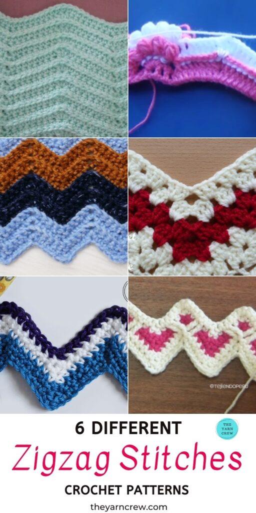 6 Different Zigzag Stitch Crochet Patterns PIN 3