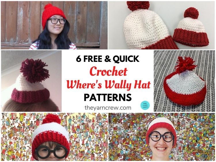 6 Free & Quick Crochet Where's Wally Hat Patterns FB POSTER