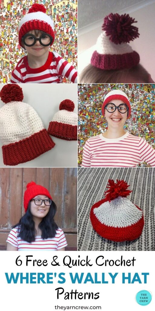 6 Free & Quick Crochet Where's Wally Hat Patterns PIN 1