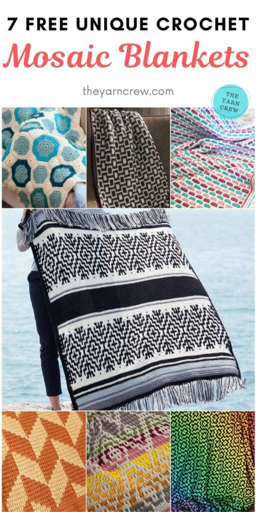 7 Free Unique Crochet Mosaic Blankets PIN 2