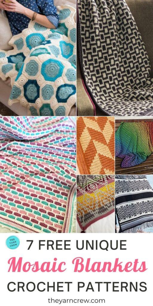 7 Free Unique Mosaic Blanket Crochet Patterns PIN 3