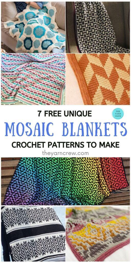 7 Free Unique Mosaic Blanket Crochet Patterns To Make PIN 1