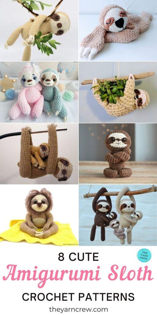 8 Cute Amigurumi Sloth Crochet Patterns PIN 3