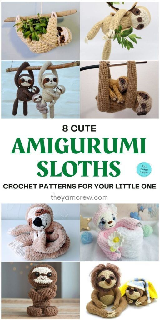 8 Cute Amigurumi Sloths Crochet Patterns For Your Little One PIN 1