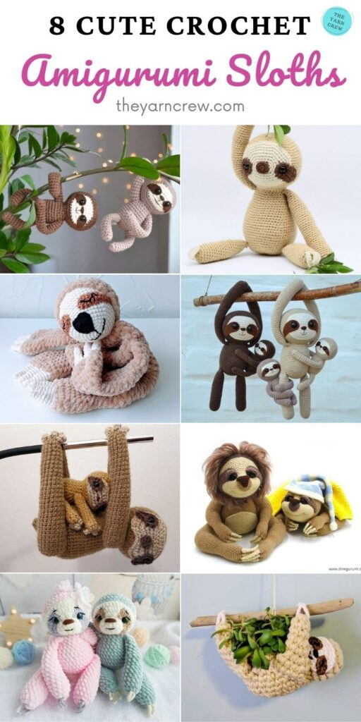 8 Cute Crochet Amigurumi Sloths PIN 2
