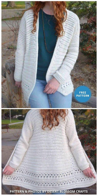 Angelica Cardigan - 10 Free Modern Crochet Cardigans Patterns For Women