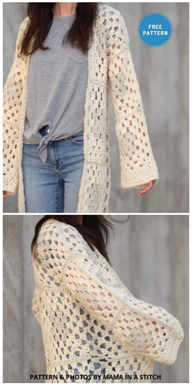 Arlo Granny Square Crocheted Cardigan - 10 Free Modern Crochet Cardigans Patterns For Women