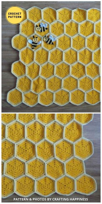 Bee Happy Honeycomb Baby Blanket - 9 Super Cute Bee Blanket Crochet Patterns