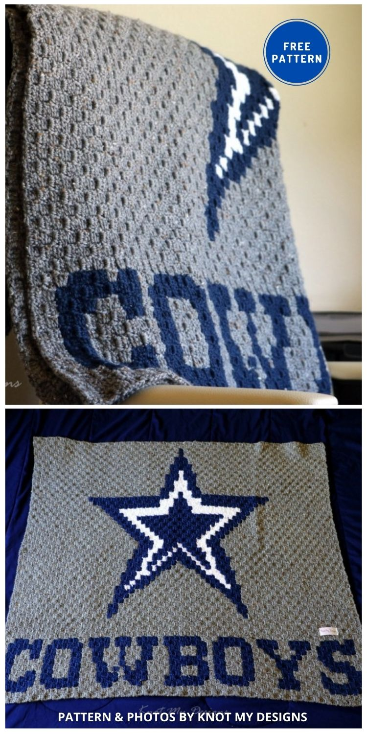 Blue Star Cowboys Baby Blanket - 7 Father's Day Crochet Blanket Ideas