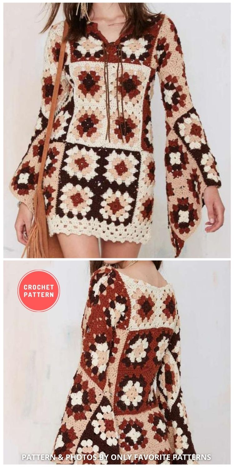 Boho Crochet Dress With Granny Squares - 5 Modern Crochet Summer Dresses To Wear This Summer