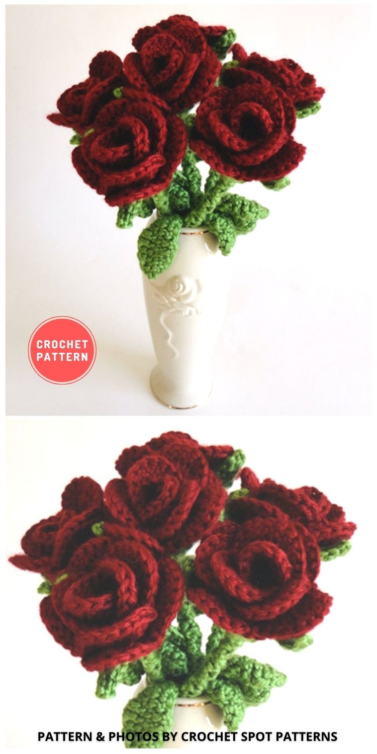 Bouquet of Roses - 9 Beautiful Crochet Wedding Flower Bouquets For The Bride